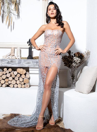 Silver Strapless Cut Out Geometric Sequin Prom Maxi Dress - Dresses