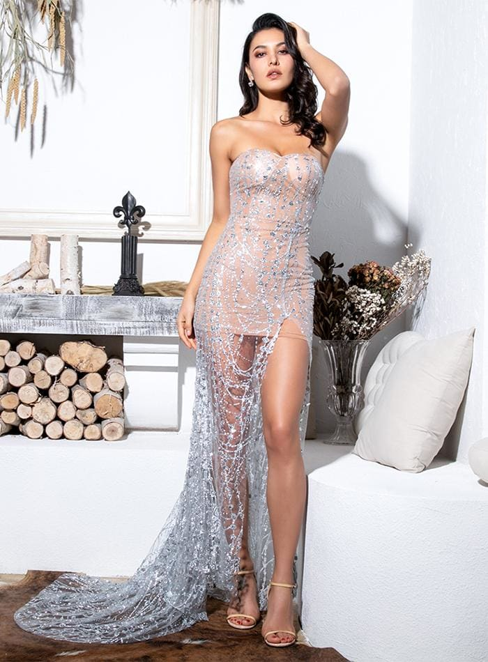 Silver Strapless Cut Out Geometric Sequin Prom Maxi Dress