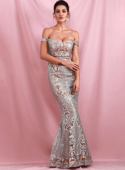 Silver Strapless Geometric Sequins Prom Cut Out Maxi Dress - Dresses