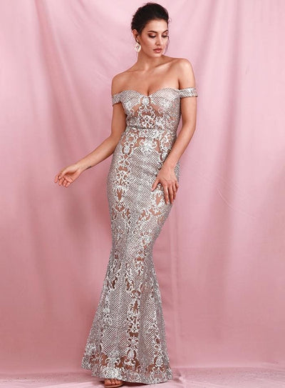 Silver Strapless Geometric Sequins Prom Cut Out Maxi Dress - SILVER / S - Dresses