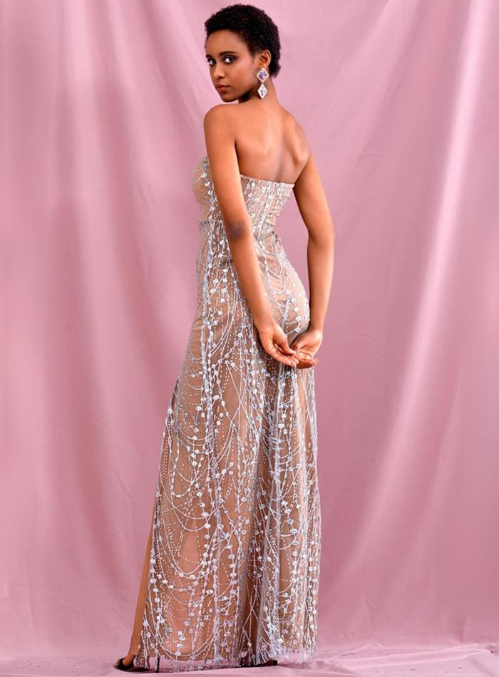Silver Tube Top Glitter Glued Split Prom Maxi Dress