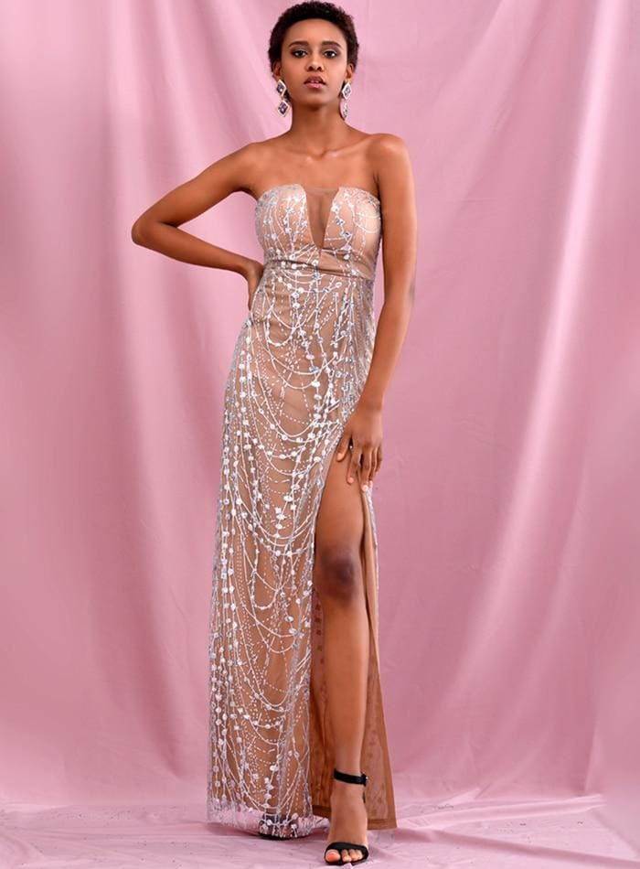 Silver Tube Top Glitter Glued Split Prom Maxi Dress - SILVER / M - Dresses