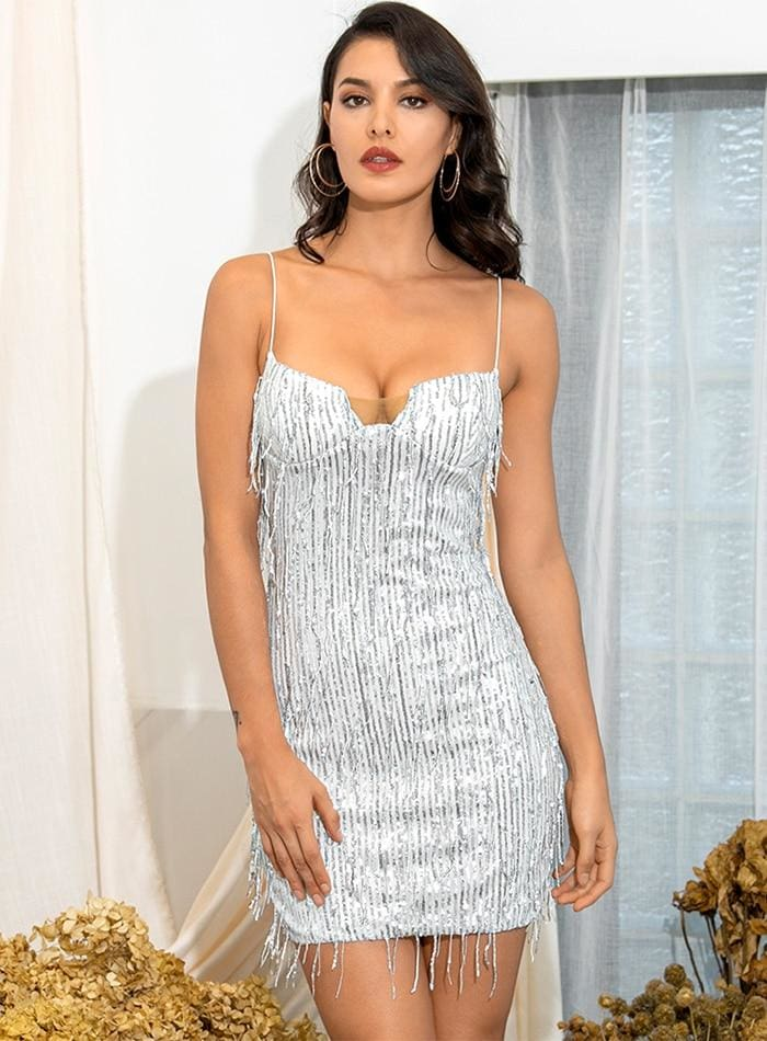 Silver Tube Top Sequin Bodycon Party Mini Dress - SILVER / S - Dresses