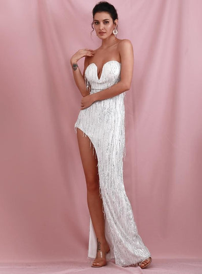 Silver Wrapped V-Neck Cut Out Tassel Sequins Prom Maxi Dress - Dresses