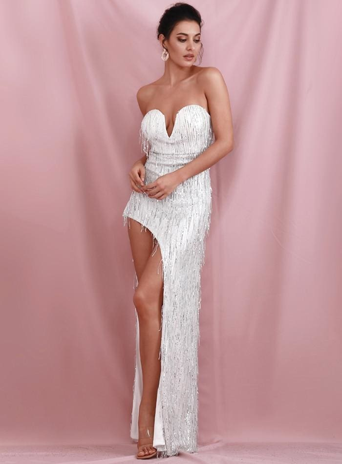 Silver Wrapped V-Neck Cut Out Tassel Sequins Prom Maxi Dress
