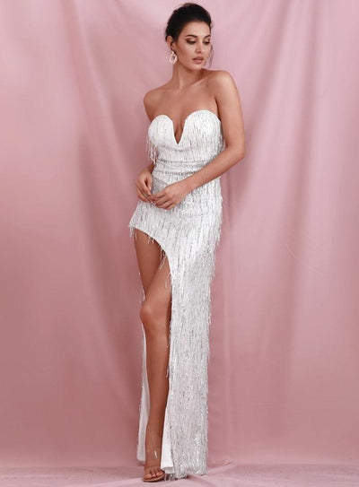 Silver Wrapped V-Neck Cut Out Tassel Sequins Prom Maxi Dress - SILVER / S - Dresses