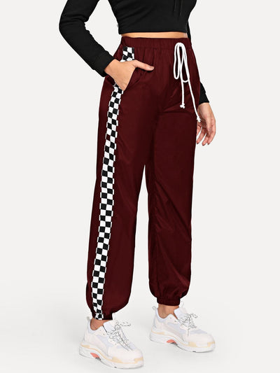 Slant Pocket Drawstring Grid Pants - Fittness Leggings