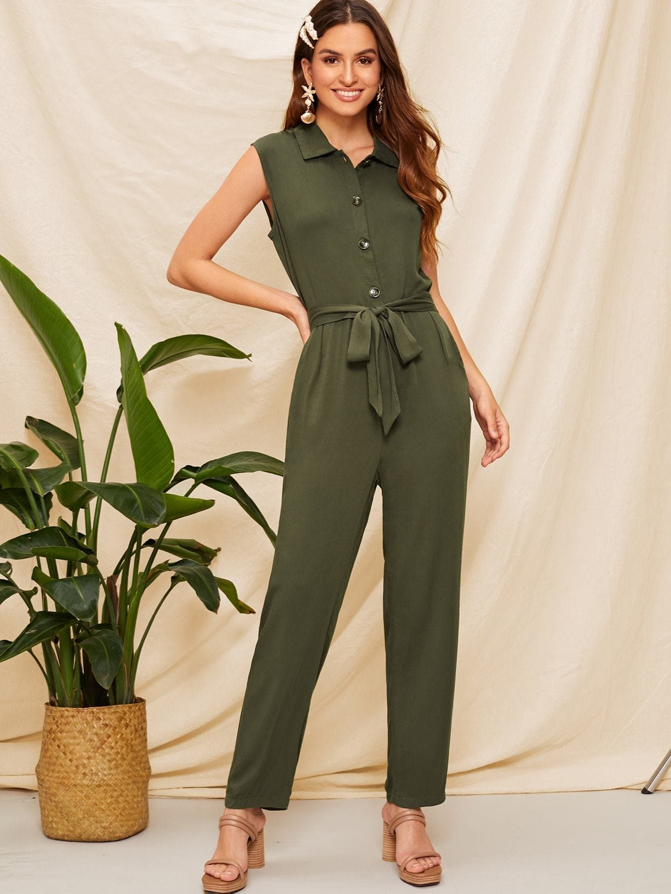 Slant Pocket Sleeveless Belted Shirt Jumpsuit - S - Womens Jumpsuits