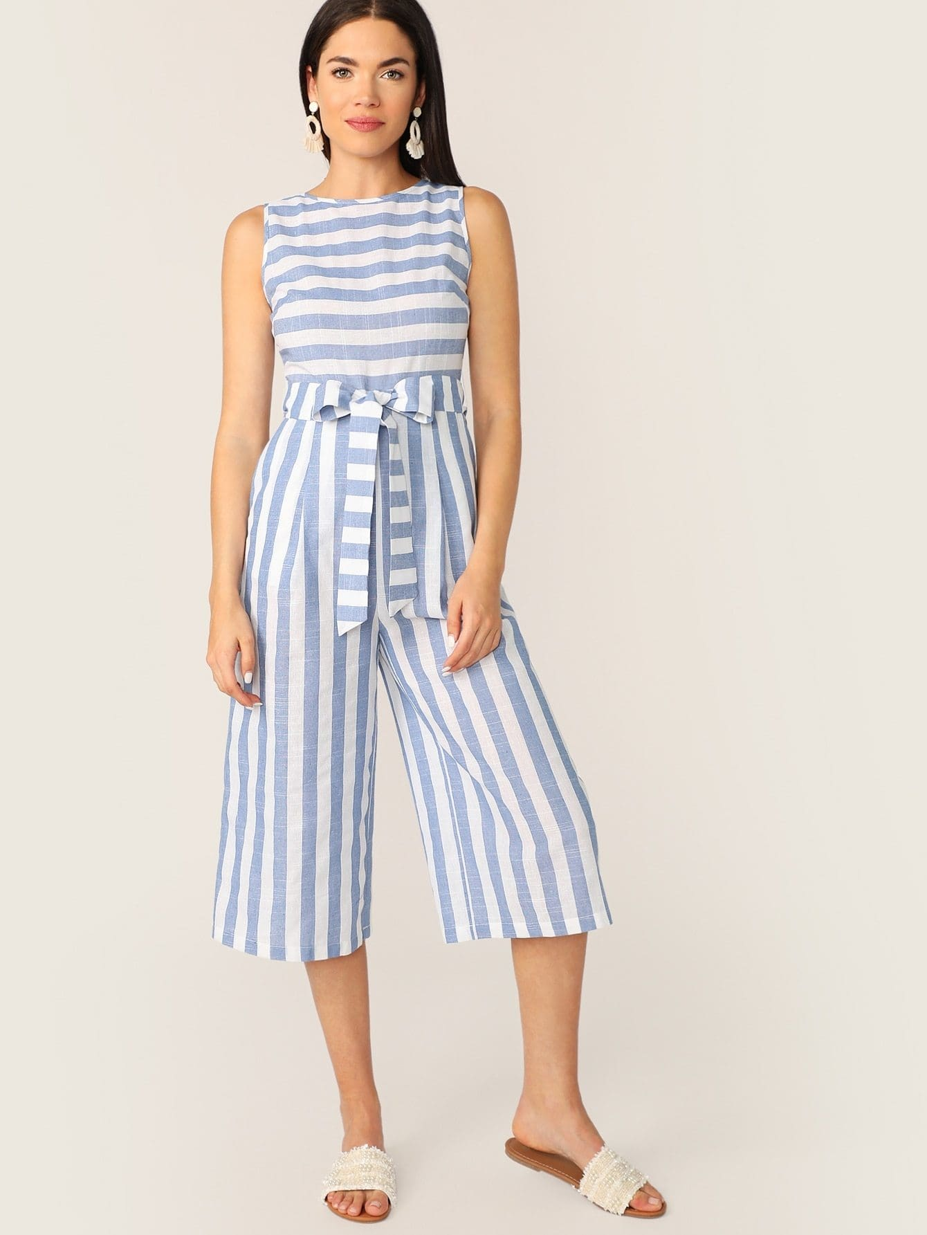 Slant Pocket Sleeveless Striped Belted Jumpsuit - XS - Womens Jumpsuits