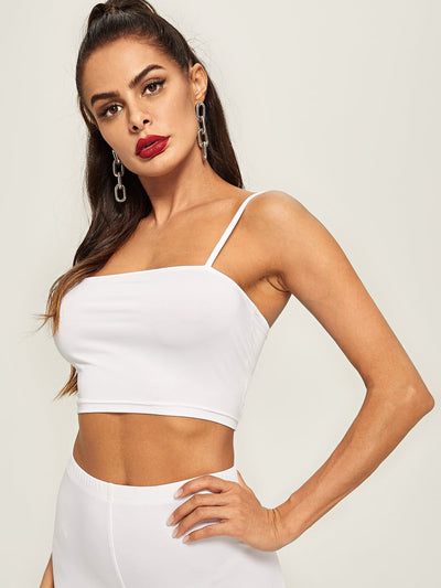 Slim Fitted Solid Cami Top - Gym Tops