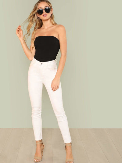 Slim Fitted Strapless Skinny Bodysuit - Bodysuits