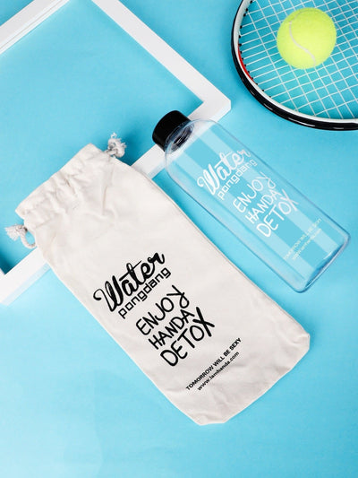 Slogan Print Bottle With Linen Cover - Drinkware