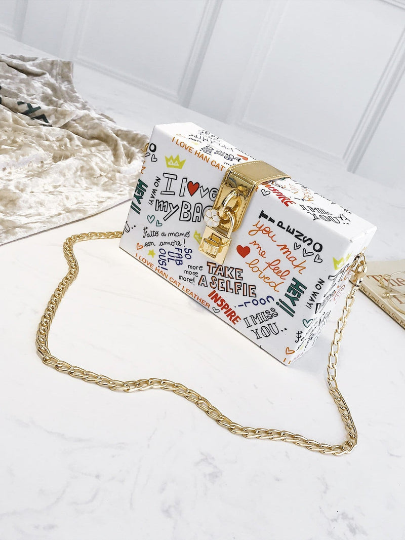 Slogan Print Chain Bag - Womens Bag