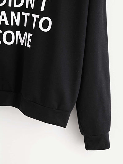 Slogan Print Drop Shoulder Hoodie - Gym Tops