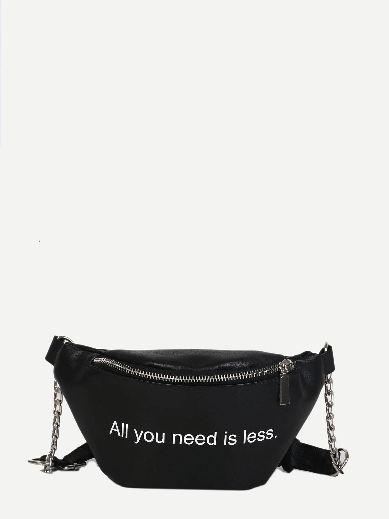 Slogan Print Ring Detail Bum Bag