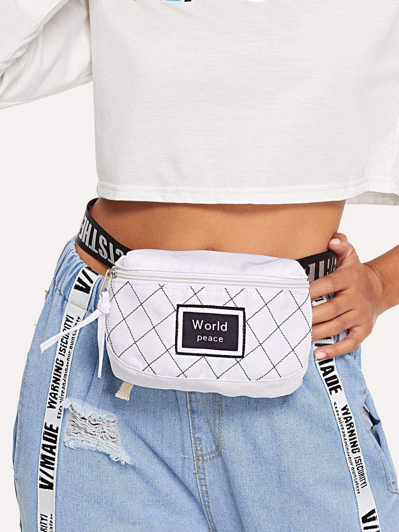 Slogan Print Zipper Bum Bag - Womens Bag