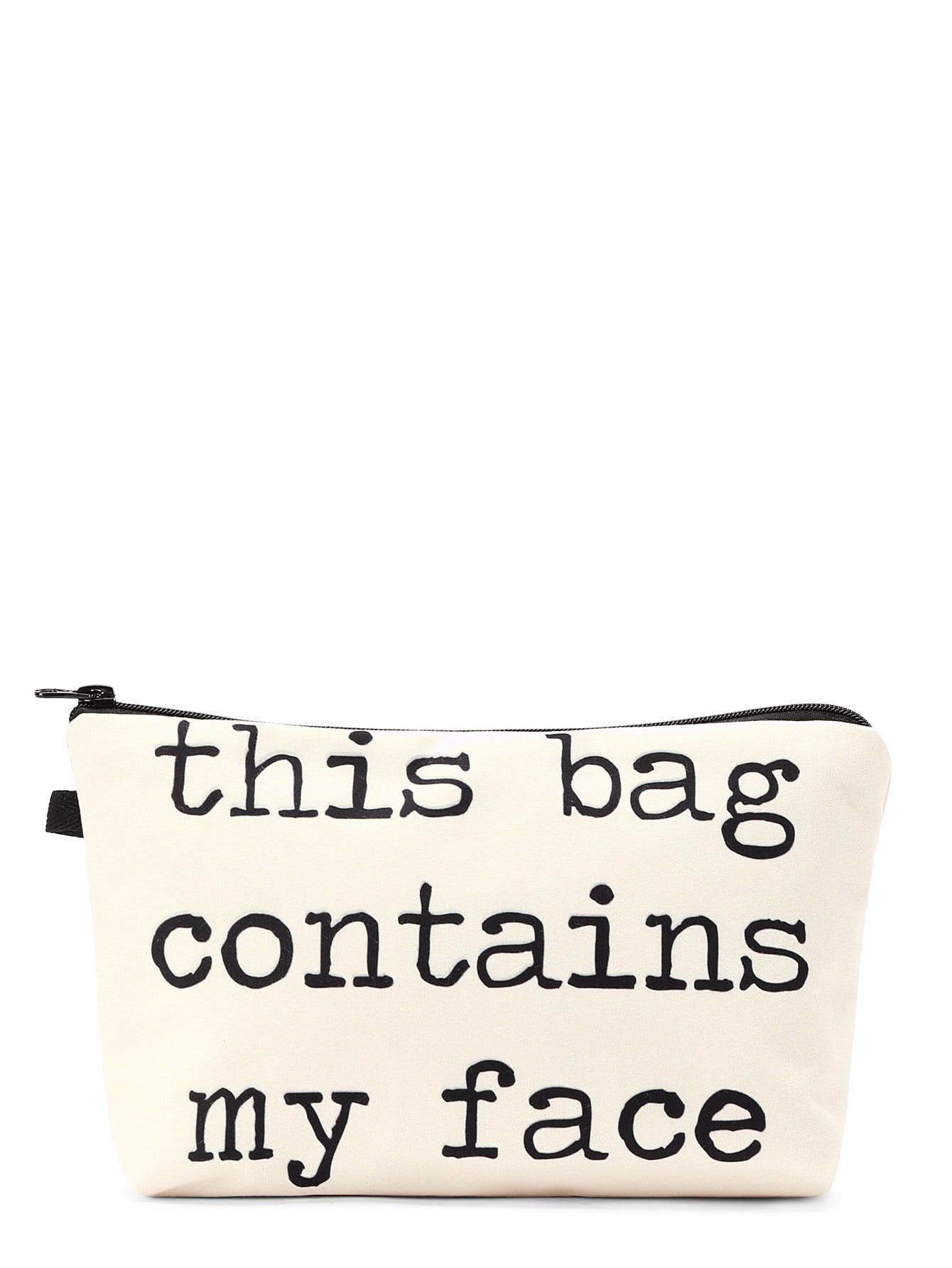 Slogan Print Zipper Cosmetic Bag - Makeup Bags