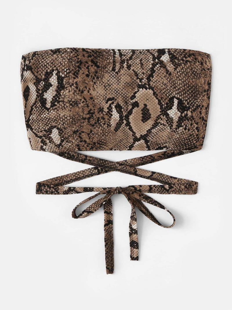 Snake Print Criss Cross Knot Tube Top - S - Crop Tops