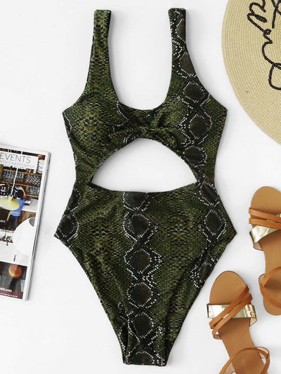 Snake Print Cut-Out Swimsuit - One Piece Swimwear