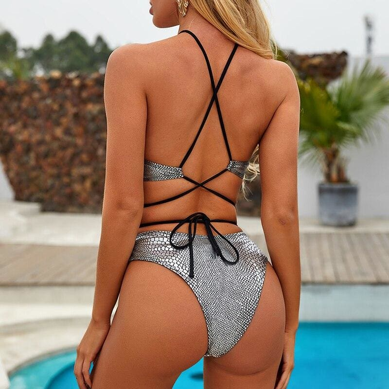 Snake Print High Neck Bandage Ring Swimsuit - Silver / L - Bikini