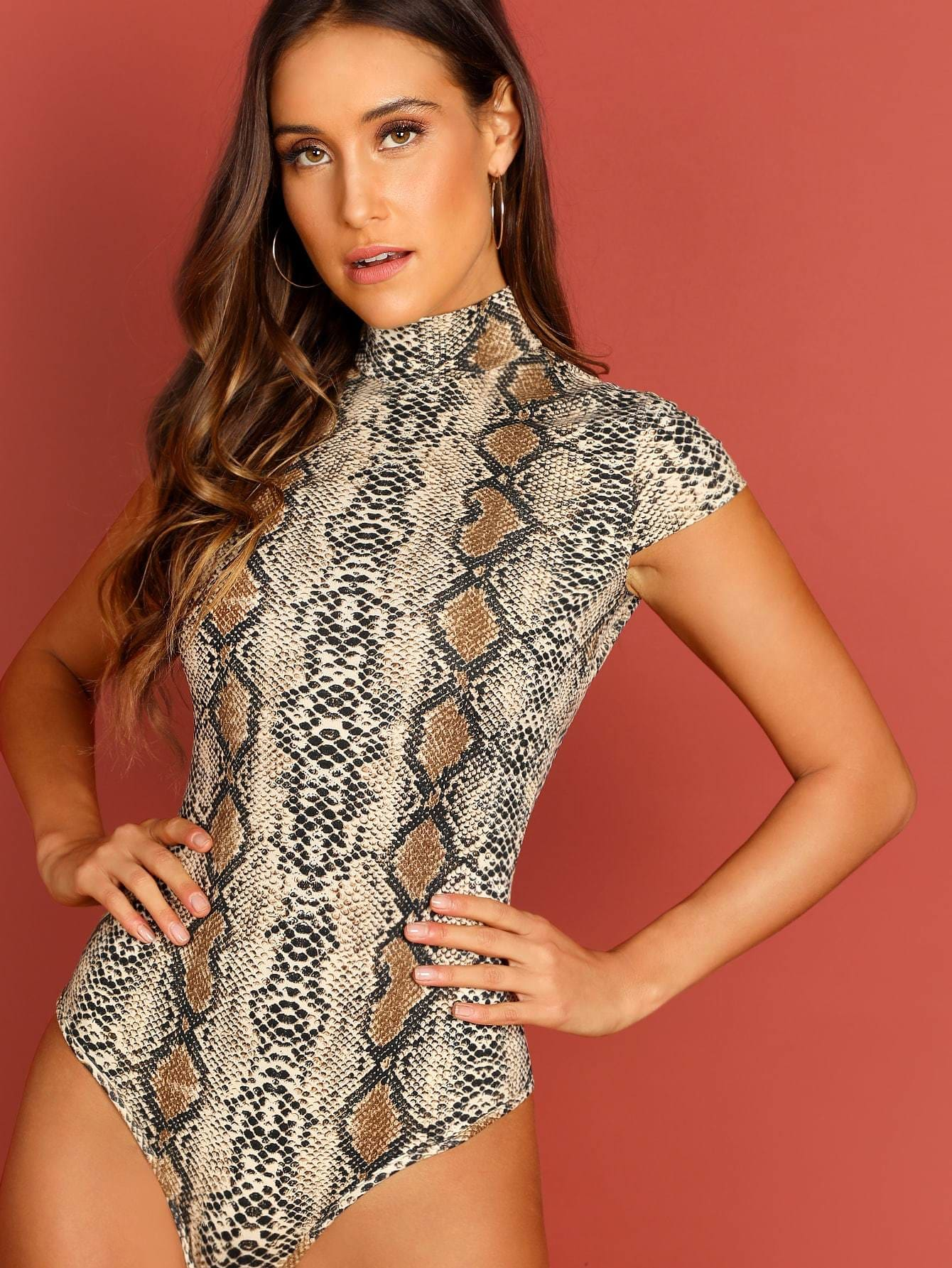Snake Print High Neck Bodysuit - XS - Bodysuits