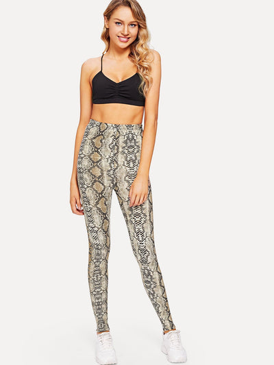 Snake Skin Print Fitness Leggings - Fittness Leggings