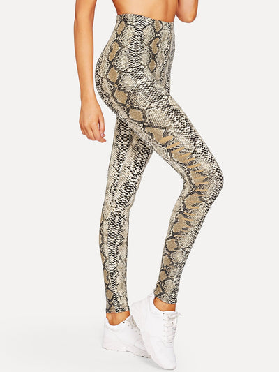 Snake Skin Print Fitness Leggings - S - Fittness Leggings