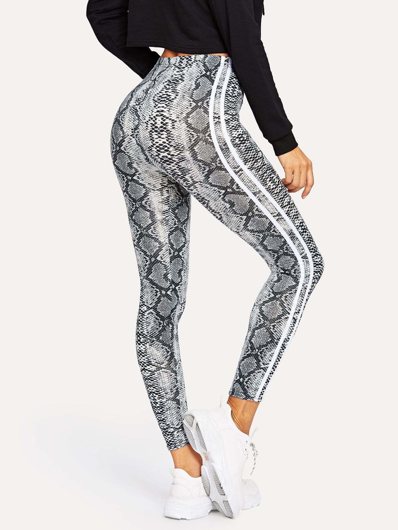 Snake Skin Print Leggings - Fittness Leggings