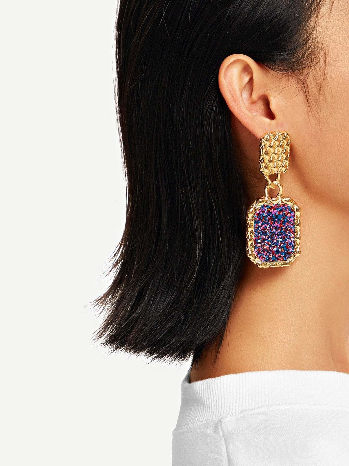 Snakeskin Pattern Textured Drop Earrings - Earrings
