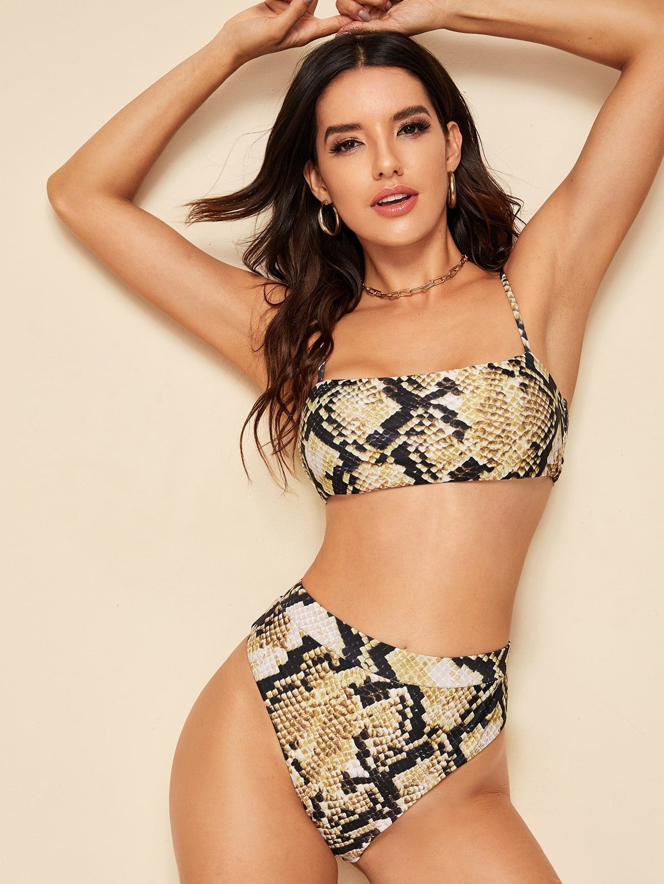 Snakeskin Print Top With High Waist Bikini Set - S - High Waist Swimwear