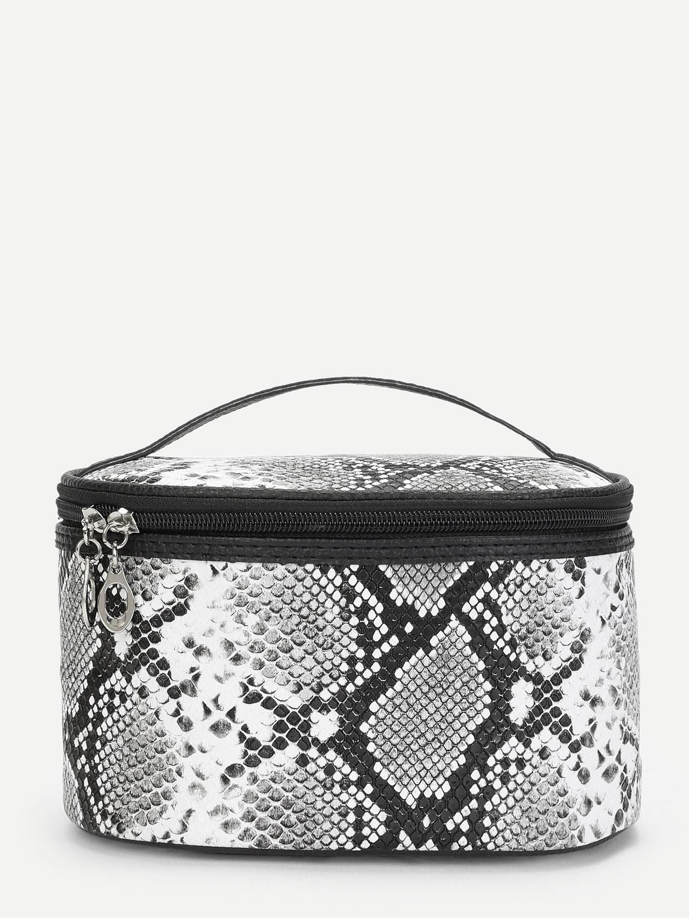 Snakeskin Print Zipper Around Makeup Bag