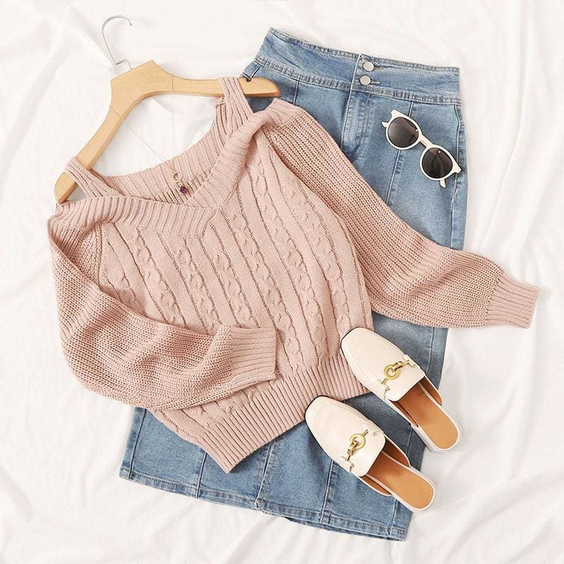 Solid Cold Shoulder Nude Sweaters