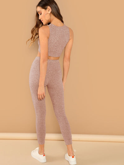 Solid Crop Top & Drawstring Leggings Set - Sportsuit