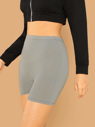 Solid Cycling Shorts - Fittness Leggings