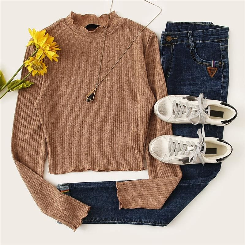 Solid Lettuce Trim Solid Knit Crop Top