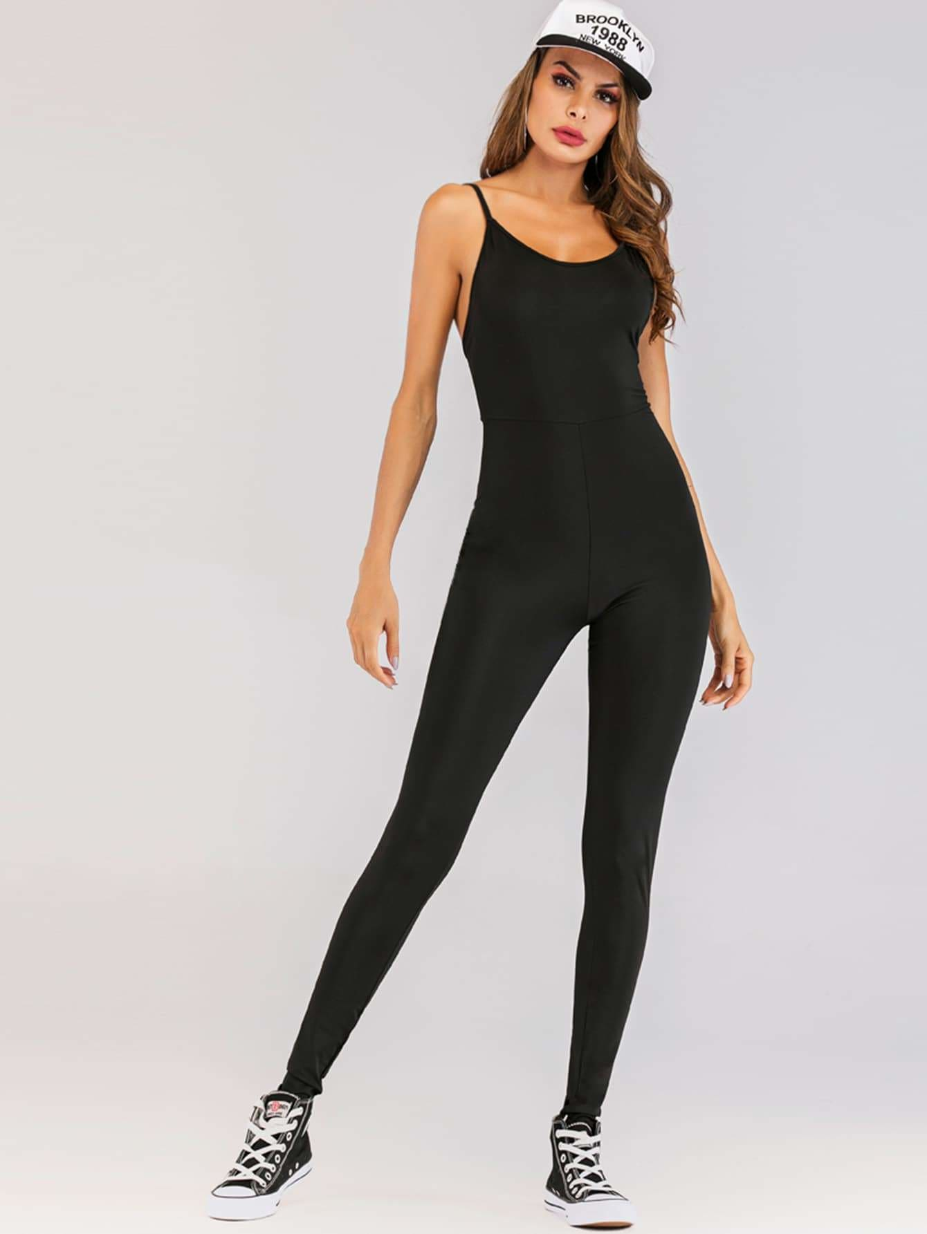Solid Open Back Skinny Cami Jumpsuit - S - Womens Jumpsuits