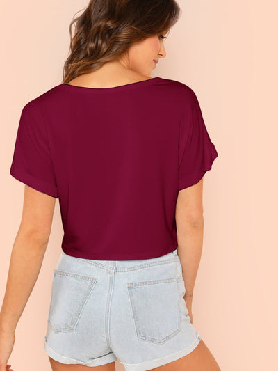 Solid Roll Up Sleeve Crop Top - Crop Tops