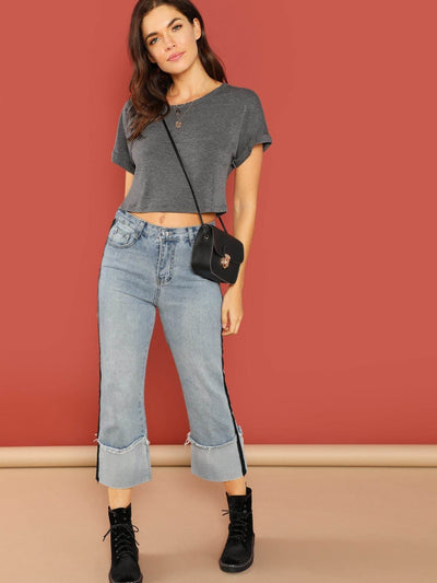 Solid Roll Up Sleeve Crop Top - Shirts