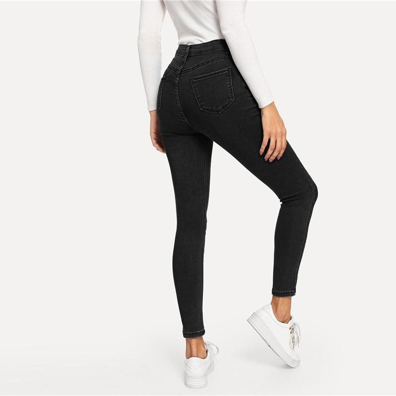 Solid Skinny High Waist Denim Jeans - Black / L - Jeans & Pants