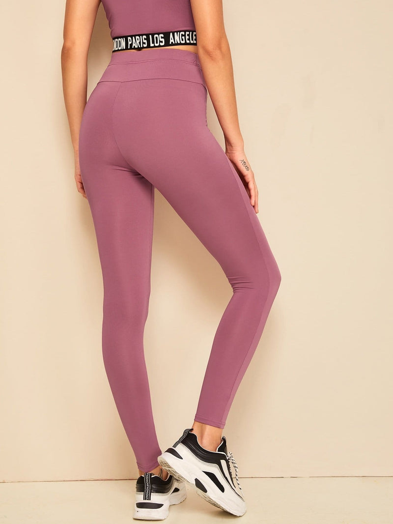 Solid Wide Waistband Leggings - S - Fittness Leggings