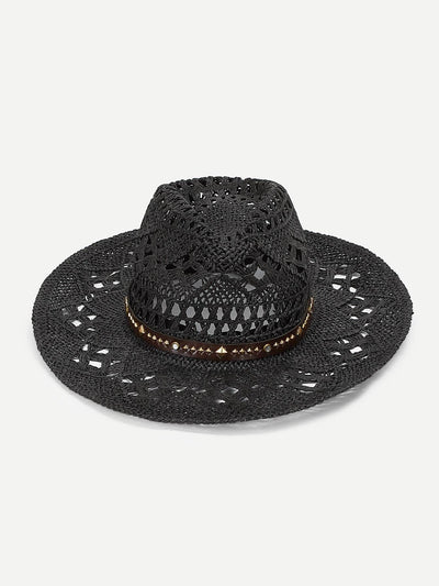 Spiked Decorated Hollow Out Panama Hat - Hats & Gloves