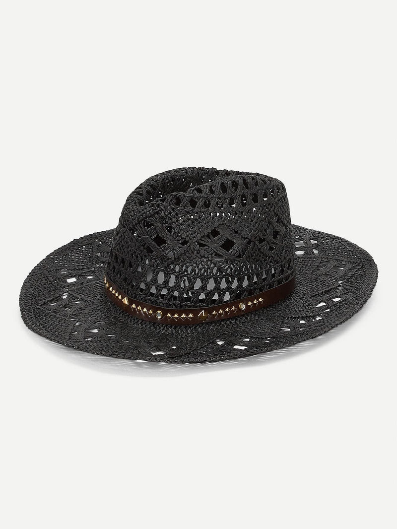 Spiked Decorated Hollow Out Panama Hat