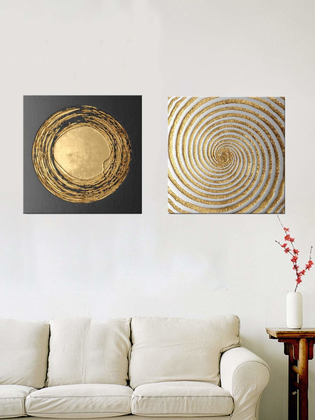 Spiral Pattern Wall Art 2Pcs - Wall Art
