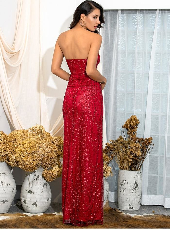 Spring Tube Top Bodycon Glitter Glued Split Prom Maxi Dress - RED / S - Dresses