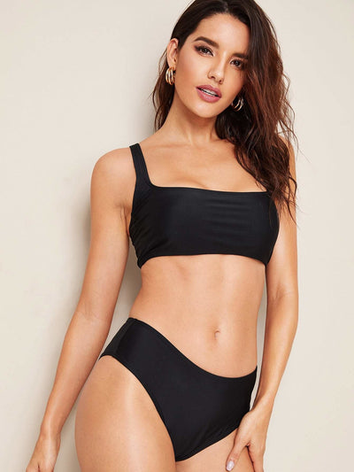 Square Neck Top With Panty Bikini Set - Bikini