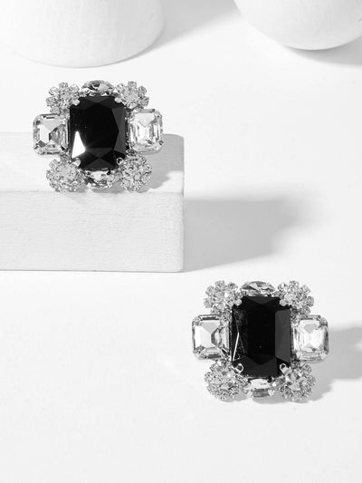 Square Shaped Gemstone Stud Earrings - Earrings