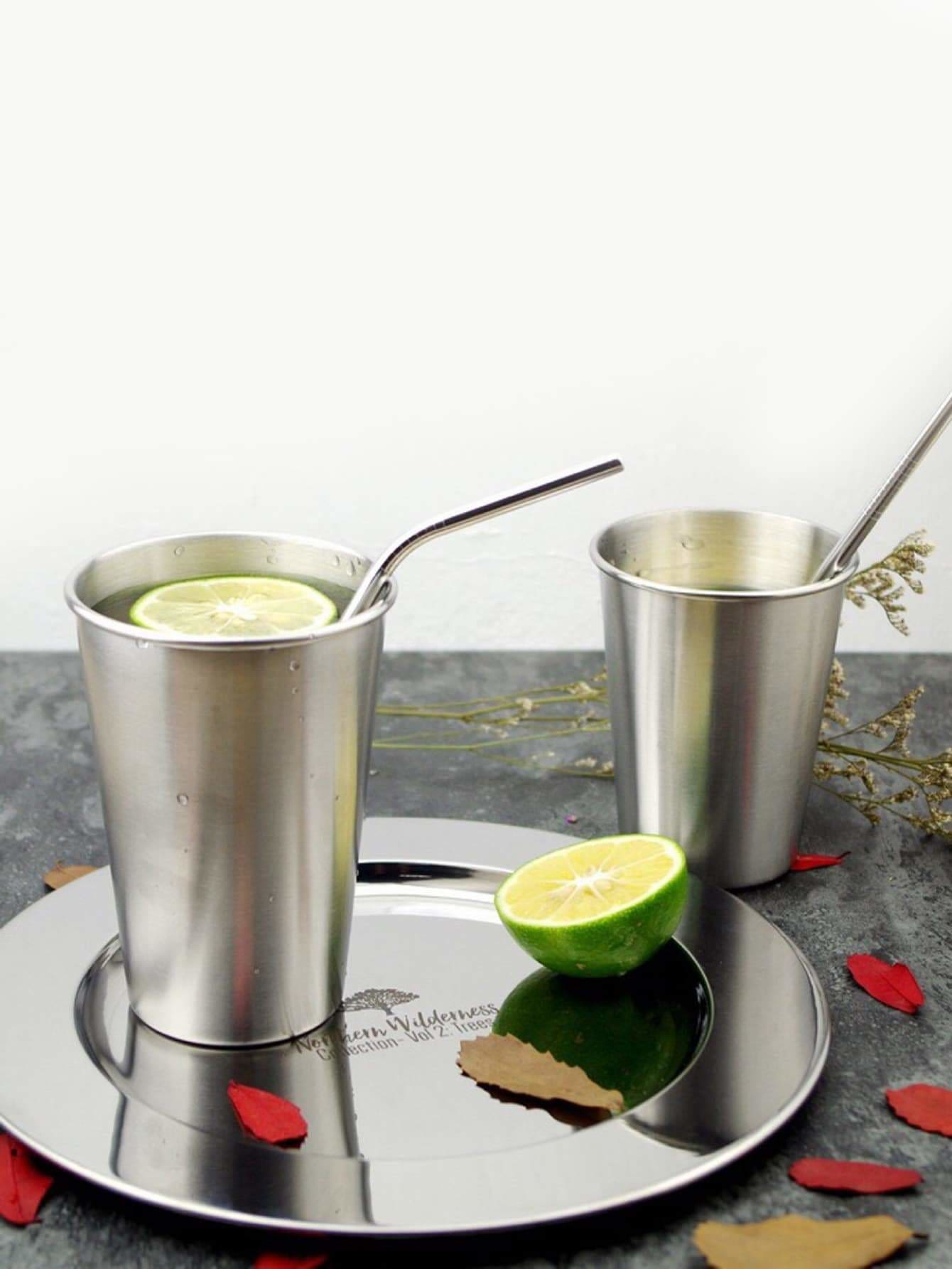 Stainless Steel Cup 1pc Without Straw - one-size / Silver
