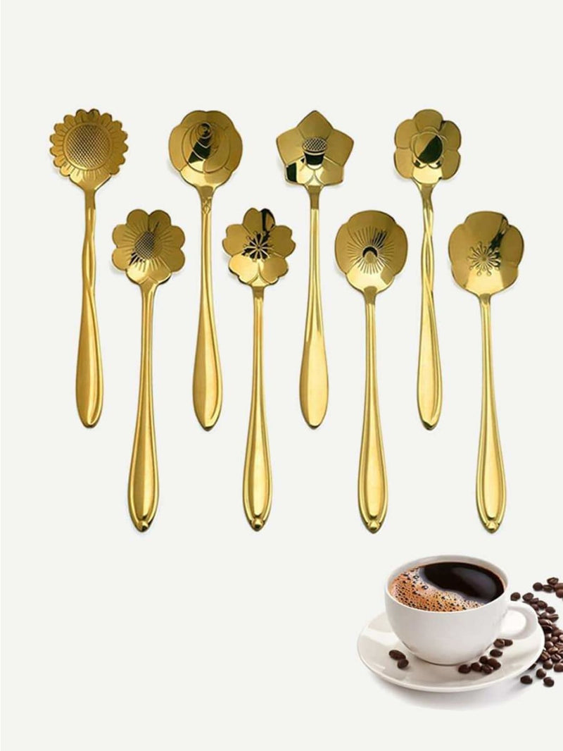 Stainless Steel Floral Spoon 8Pcs - One-Size / One Color - Dining