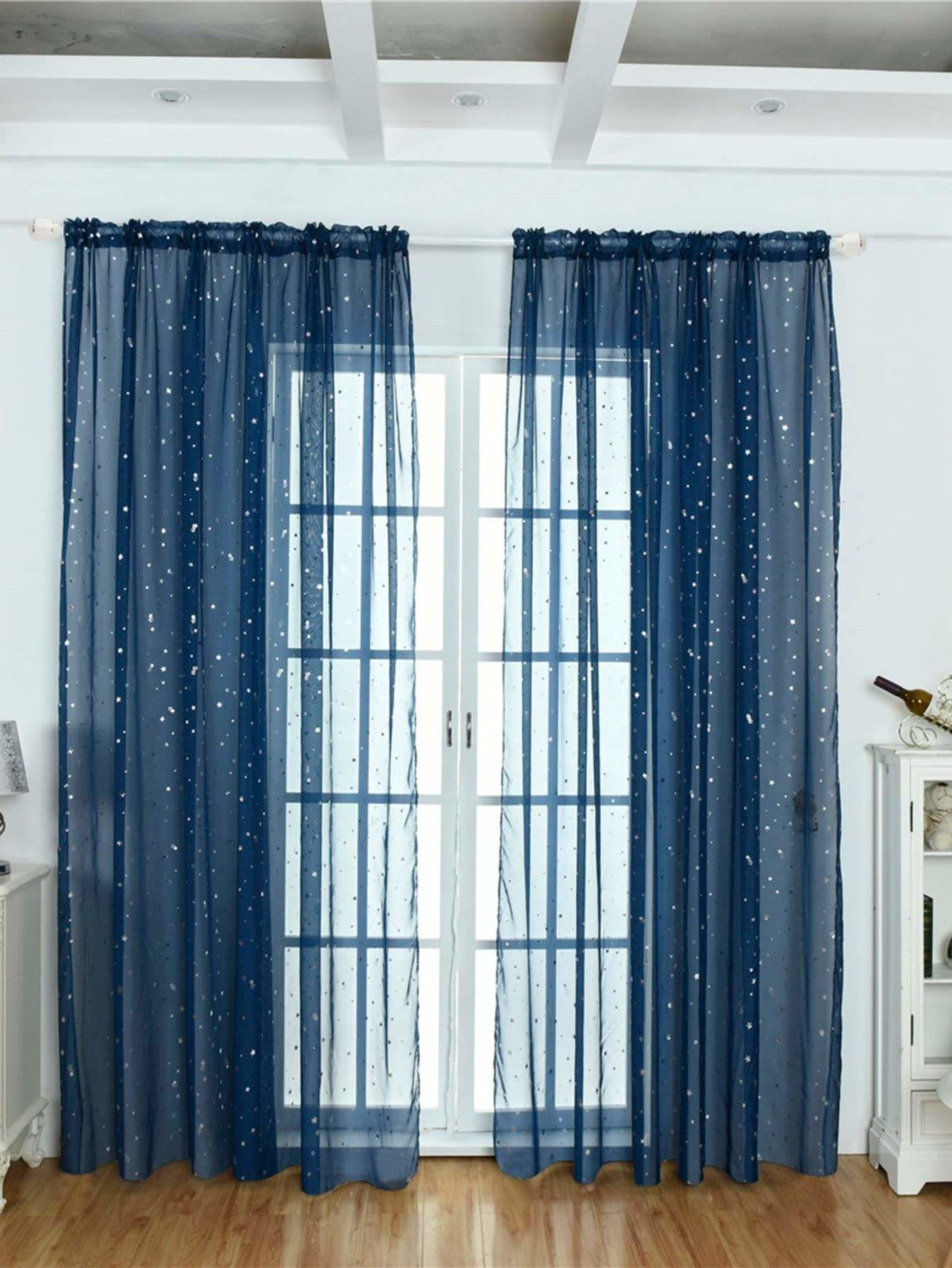 Star Decor Rod Pocket Sheer Curtain 1pc