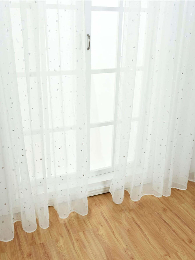 Star Decor Rod Pocket Sheer Curtain 1pc - Curtains